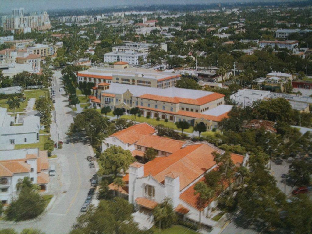 In this architectural rendering, the First Presbyterian Church is in the foreground. Behind it are the proposed Family Life Center and separate parking garage/office building along Las Olas Boulevard.