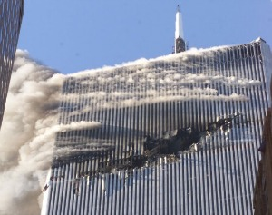 The North Tower of New York's World Trade Center on Sept. 11, 2001