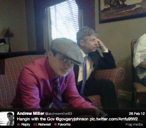 Andrew Miller with Libertarian Party presidential nominee Gary Johnson in a photo he tweeted last year