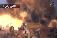 The suicide bombing at al-Nairab military base in northern Syria on June 1, 2012, as seen in a propaganda video by al-Nusrah, al-Qaida's Syrian branch.