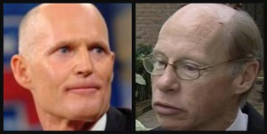 Before he was governor, Rick Scott, left, funneled stock options worth $375,000 to then Broward Sheriff Ken Jenne