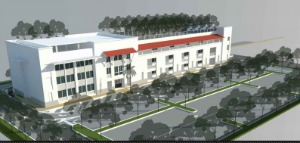 The Ben Gamla middle-high school project as approved with green space on the roof. New plans would replace the green space