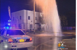 Miami-Dade Water & Sewer repaired this water main break along NW 15 Avenue and 36th Street  in Miami in 2012.  Photo: CBS 4