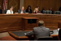 Sens. Susan Collins, R-Maine; Bill Nelson, D-Fla.; and Claire McCaskill, D-Mo. hear testimony from Karl Spicer, who admits to having scammed people out of thousands of dollars by hawking investments in gold and silver. U.S. Senate photograph