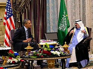 President Barack Obama meets with King Abdullah bin Abdulaziz Al Saud of the Kingdom of Saudi Arabia during a bilateral meeting at Rawdat Khuraim in Saudi Arabia, March 28, 2014. (Official White House Photo by Pete Souza)