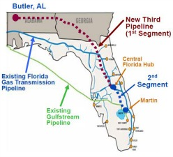 Florida's existing and proposed pipeline routes. Gov. Scott invested hundreds of thousands of dollars in companies that own all three. Illustration: NextEra Energy