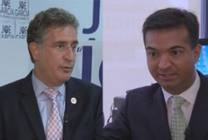 U.S. Rep. Joe Garcia, D-Miami, left, and Republican challenger Carlos Curbelo Photo: Univision 23