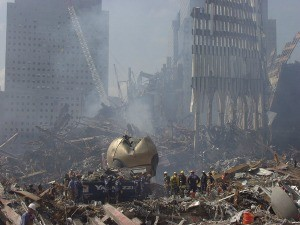 Rescue crews work to clear debris from the site of the World Trade Center. Photo Michael Rieger/ FEMA News