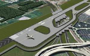 Rendering of east end of the expanded south runway with US 1 tunnels