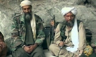 Osama bin Laden, left, with his successor as al Qaeda chief Ayman al-Zawahiri