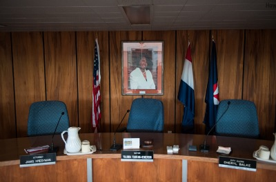 The City Council chambers of Jennings, Missouri. In addition to the mayor, five of the eight sitting city council members have been sued over a debt. Photo: Edwin Torres/ProPublica