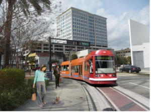 A rendering of Fort Lauderdale's proposed WAVE streetcar. Will tax dollars intended to eliminate slums be used to pay for it?