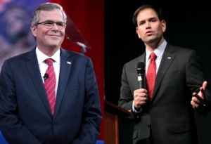 Jeb Bush, left, and Marco Rubio