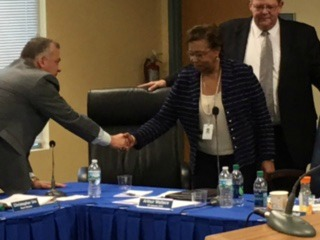 Broward Health's new Interim CEO/President Pauline Grant is welcomed Wednesday by Commissioner Christopher T. Ure