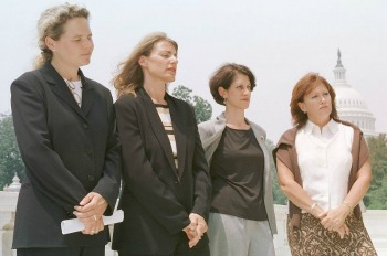 Left to right are Kristen Breitweiser, Mindy Kleinberg, Lorie Van Auken and Patty Casazza at a 2002 press conference.