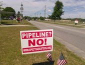 Sabal Trail pipeline opponents handed out signs and leaflets in Live Oak on April 21. Photo: John S. Quarterman