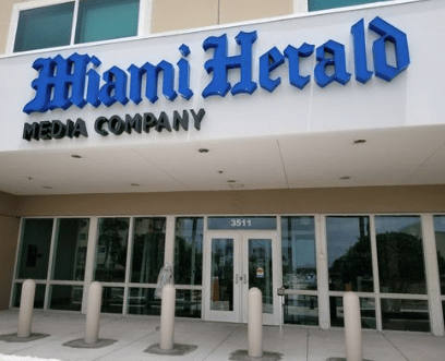 entrance to Miami Herald building