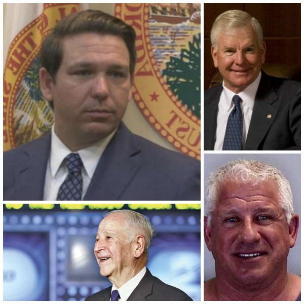 Gov. Ron Desantis and campaign donors who got no-bid state contracts, counterclockwise from bottom left, Philip Frost, Gary Kompothecras and Randal Ringhaver